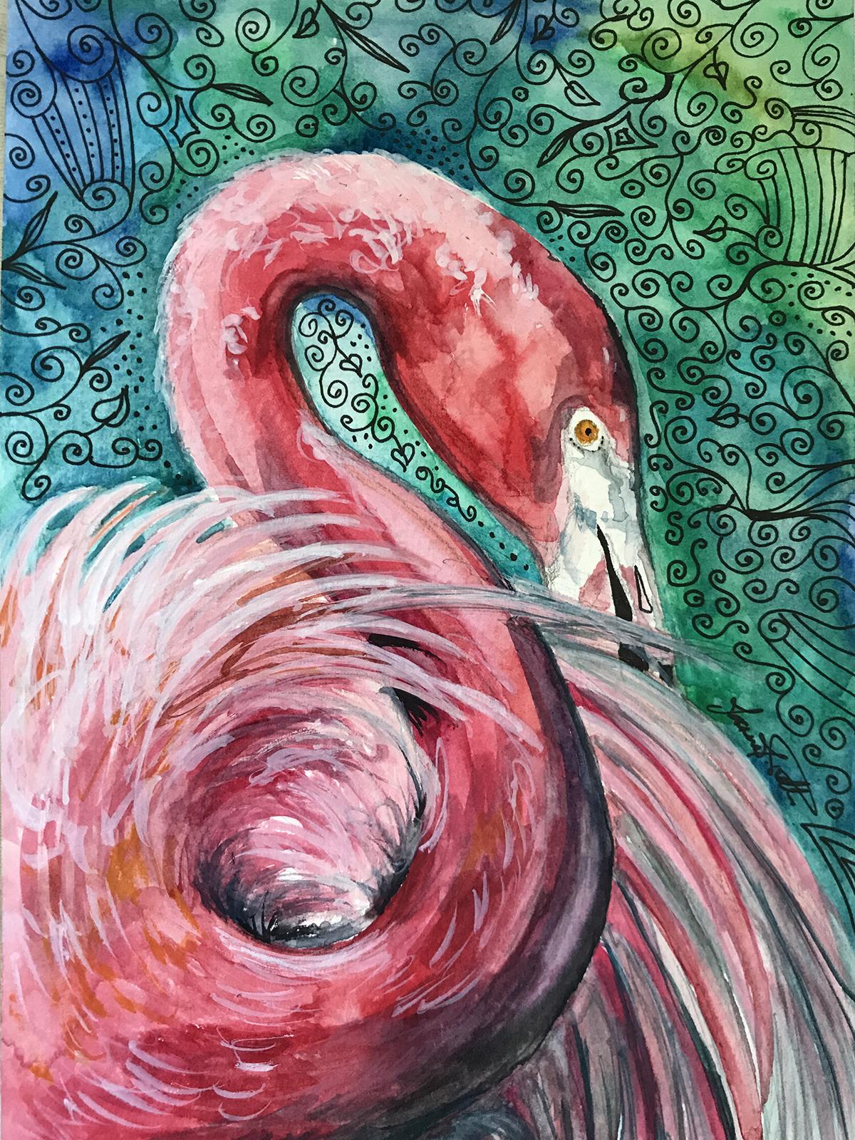 Flamingo Watercolour © JJPotter