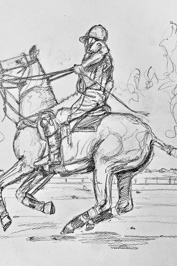 Polo Player Chukka Pencil Drawing Illustration © JJ Potter